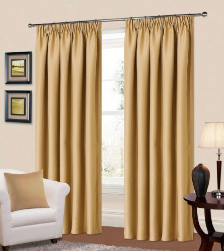 PLAIN STONE BEIGE COLOUR THERMAL BLACKOUT READYMADE BEDROOM LIVINGROOM CURTAINS PENCIL PLEAT